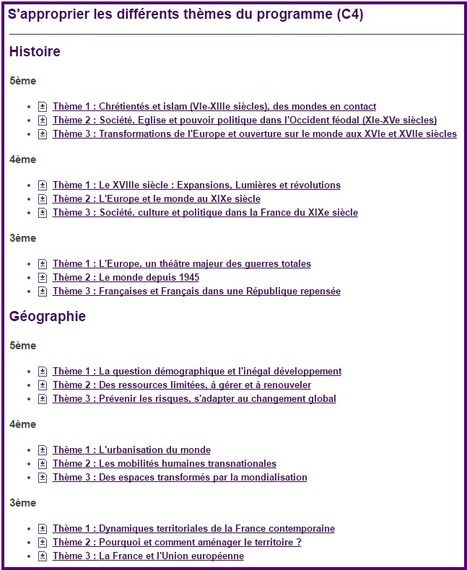Histoire et géographie - S'approprier les différents thèmes du programme - Éduscol | Histoire- Géographie- EMC | Scoop.it