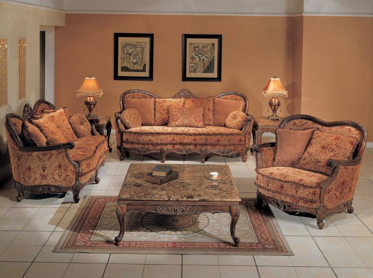 Fine Peach Sofa Set - Traditional Floral Sofa Group with