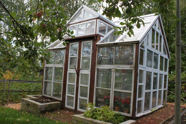 An elegant greenhouse made from old windows and bricks - I do like this.