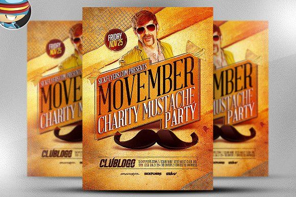 Movember Charity Party Template by FlyerHeroes on @creativemarket