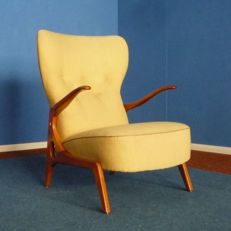 Mid Century Wingback chair in Scandinavian style, 1950s #WingbackChair