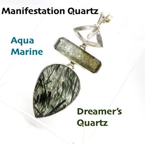 Manifestation Quartz |  Aquamarine | Dreamer's Quartz | Pendant 925 Sterling Silver | Conscious Evolution | Dream manifestation | Crystal Heart Melbourne Australia since 1986