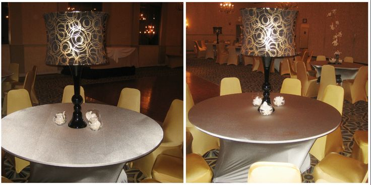 Spandex centerpieces, linens and chair covers define contemporary tablescapes at The Waterfall.