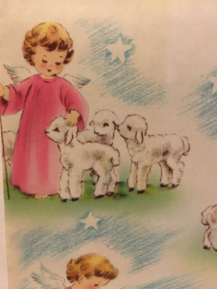 11 best obsessed vintage wrapping paper images on pinterest vintage angel pastorale norcross gift wrapping paper 3 tags lambs black sheep negle Choice Image