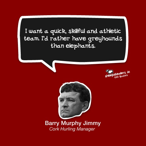 """I want a quick, skillful and athletic team. I'd rather have greyhounds than elephants."" – Barry Murphy Jimmy (Cork Hurling Manager)"