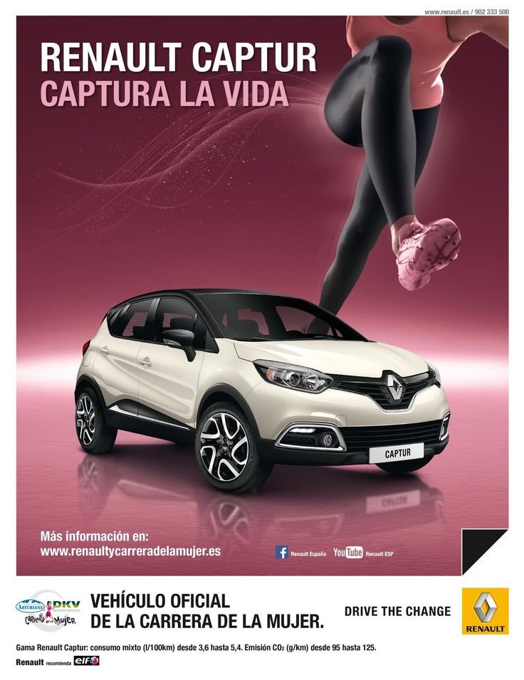 Renault Captur, coche oficial de la Carrera de la mujer 2014 - http://www.actualidadmotor.com/2014/03/29/renault-captur-coche-oficial-de-la-carrera-de-la-mujer-2014/
