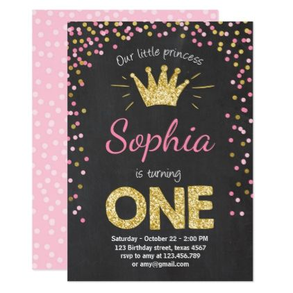 First birthday invitation Princess Gold Pink - birthday gifts party celebration custom gift ideas diy