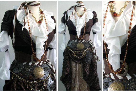 Women's Pirate Costume in Brown, Upcycled / Vintage - 13 Pieces Including Belts & Jewelry