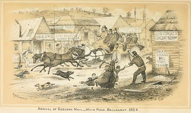 Arrival of the Geelong mail, main street, Ballarat.