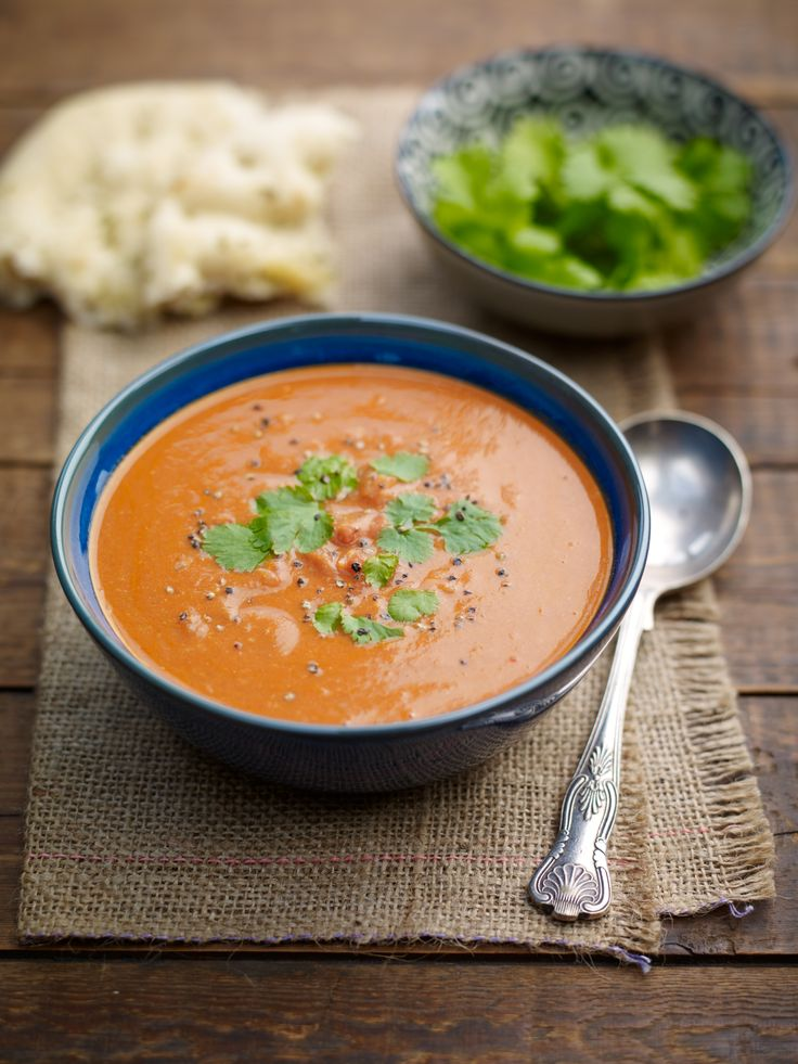Indonesian Peanut Butter and Tomato Soup. 2 tsp nut oil, 1 onion, finely diced 2 cloves crushed garlic, 2cm of grated ginger, 1 red chilli, 1tsp paprika, 1tsp cumin, 3tbsp Meridian crunchy peanut butter, 440g chopped tomatoes, 2tbsp tomato puree, 500ml vegetable stock, small bunch coriander.
