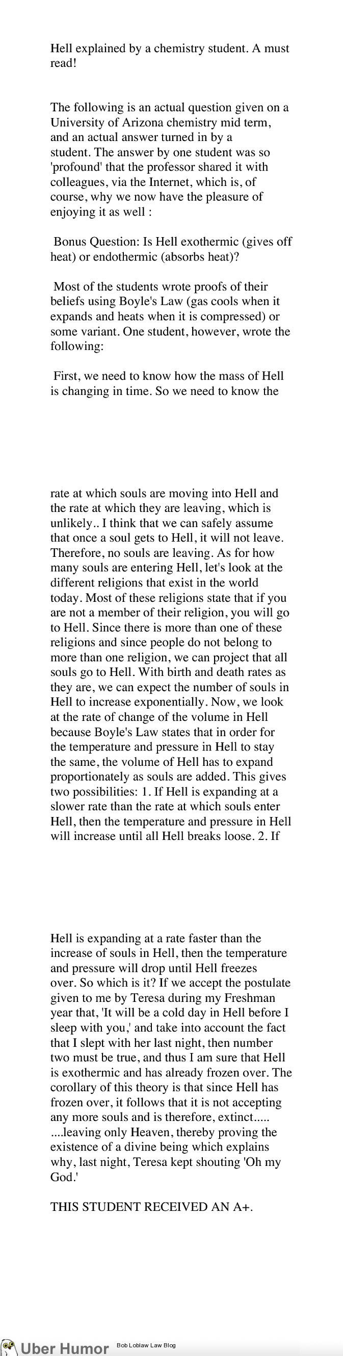 Hell explained by a Chemistry student. This is so perfect I don't even understand. |   See More about chemistry humor, chemistry and students.