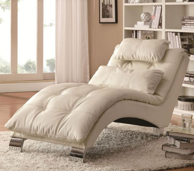 Coaster Furniture 550078 Living Room Chaise With Sophisticated Modern Look  In White