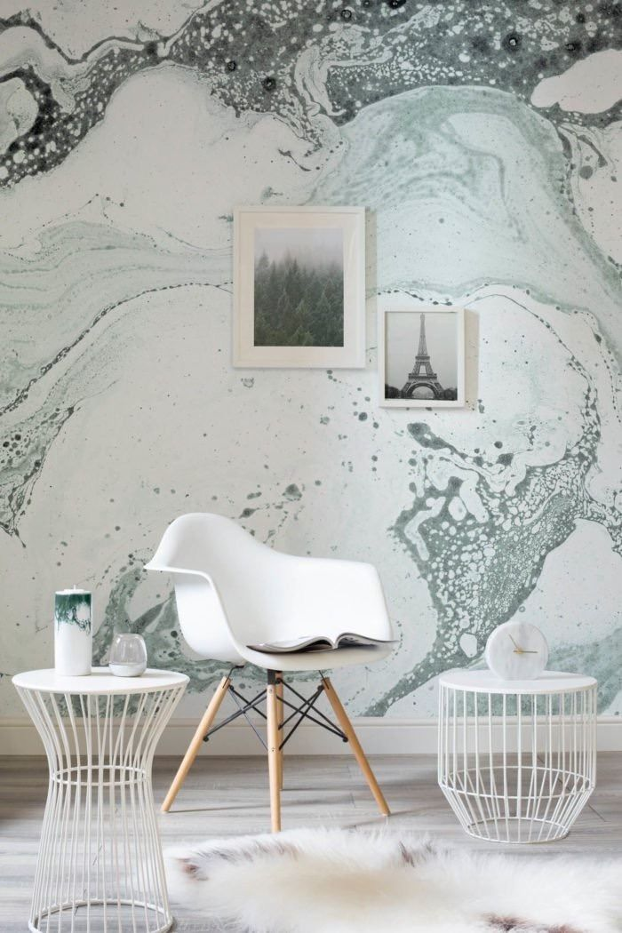 Create interest within your space with this conversation-worthy green marble wallpaper.