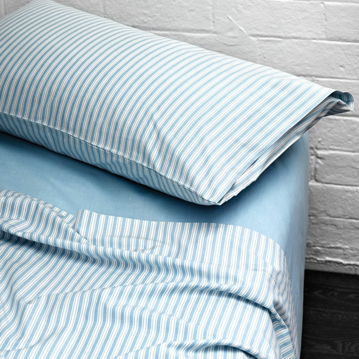 AURA Ticking Stripe sheet set Aqua