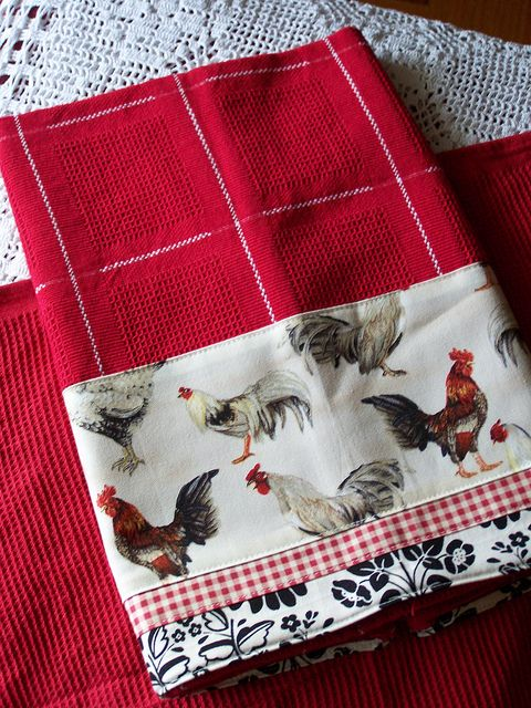 Red and white dish towel for kitchen. by Decorative Towels - Created by Cath *I see curtains...too cute