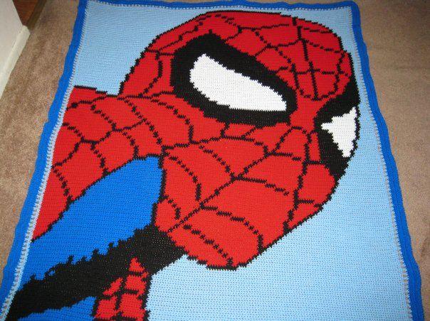 Crochet Pattern For Spiderman Blanket : Spiderman crocheted character blanket crochet ...