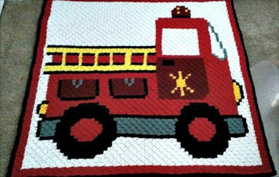 Firetruck Kids Afghan, C2C Crochet Pattern, Written Row