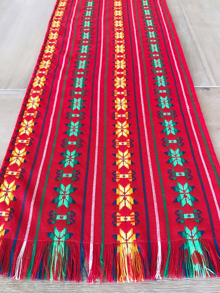 A personal favorite from my Etsy shop https://www.etsy.com/listing/528226389/mexican-tablecloth-runner-or-napkins