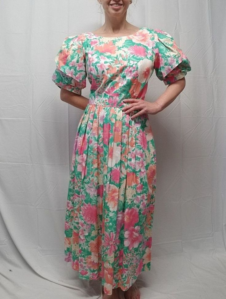 Vtg 80s LANZ ORIGINAL Pink Teal Melon Floral Garden Party Dress Pockets S/M #LanzOriginals #TeaDress #Party