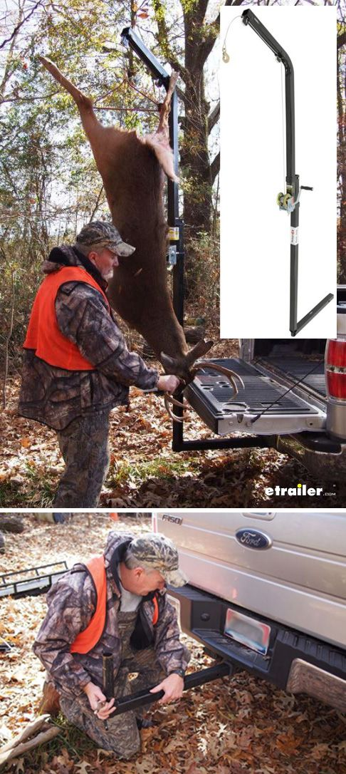 The Rack Jack hoist makes it easy to load your deer after hunting or other heavy gear into your truck bed. This hitch-mounted hoist features a galvanized steel winch and heavy-duty aluminum pulleys for securely hoisting and holding hefty loads. The vertical round pole on the hitch adapter allows the mast to swivel 360 degrees so that you can turn the hoist to lower your game or gear into your truck bed.