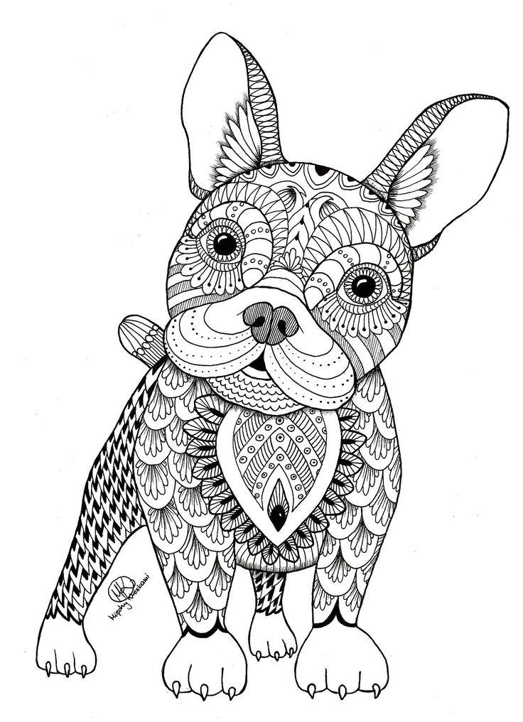 mandala animaux - Recherche Google | Chien coloriage, Coloriage