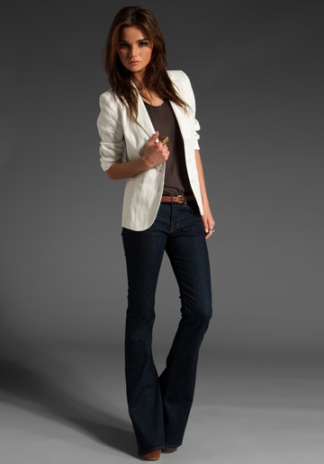 Another great dark bootcut jean look with tucked in shirt and light colored blazer, could even work with dark colored blazer.