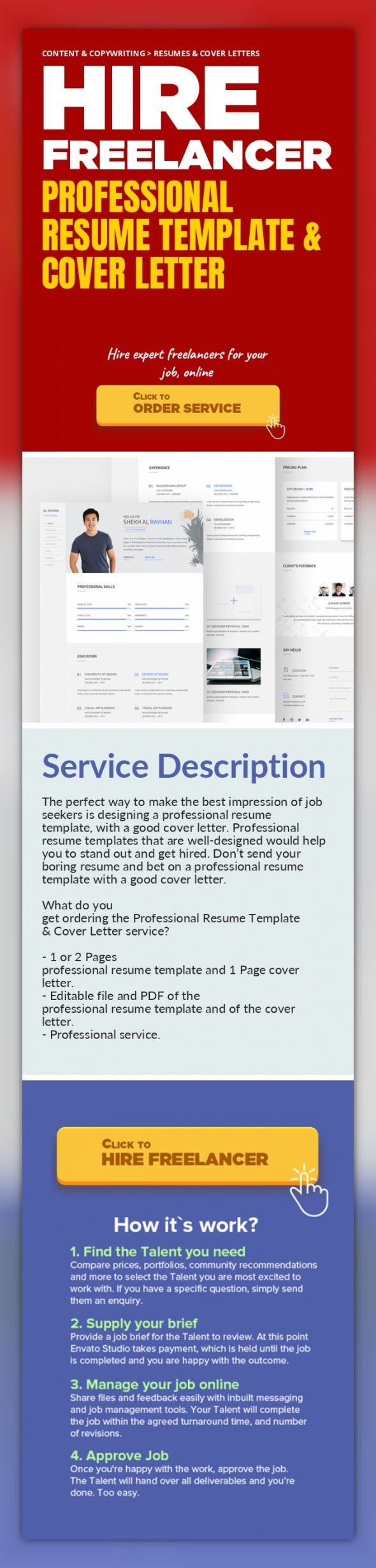 Professional Resume Template & Cover Letter Content & Copywriting, Resumes & Cover Letters   The perfect way to make the best impression of job seekers is designing a professional resume template, with a good cover letter. Professional resume templates that are well-designed would help you to stand out and get hired. Don't send your boring resume and bet on a professional resume template with a ...