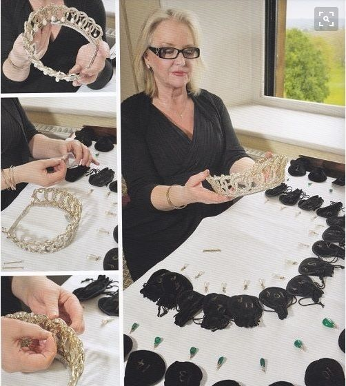 Vladimir tiara: Each of the individual pearls and emerald cabochon drops has its own black velvet bag set out in order when it comes to attaching them to the interlocking circles frame of the Vladimir Tiara.