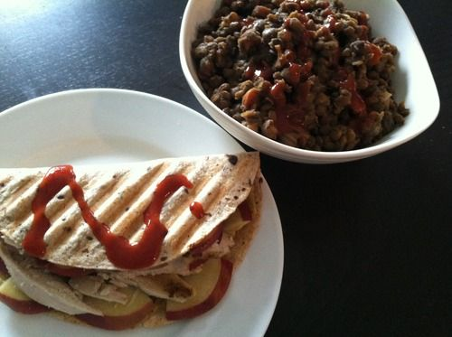 Turkey, apple, swiss cheese quesadilla & BBQ lentil stew