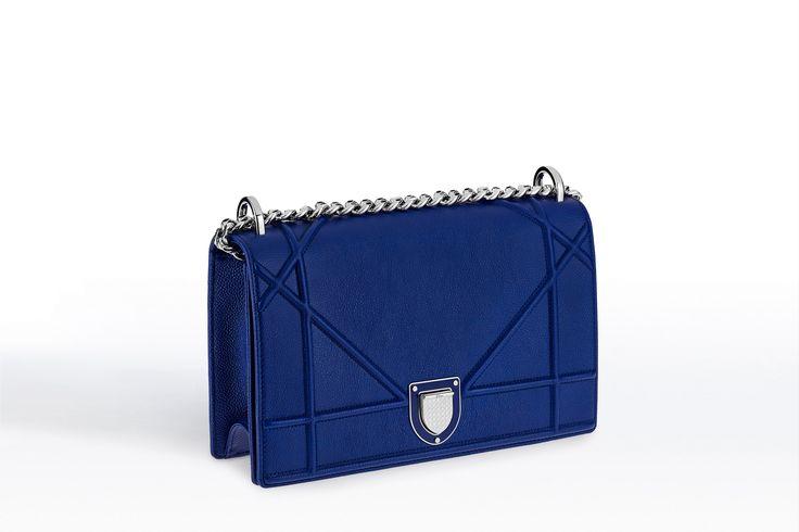 """Bolsa """"diorama"""" em couro de bezerro granulado bleu de minuit - Dior"""