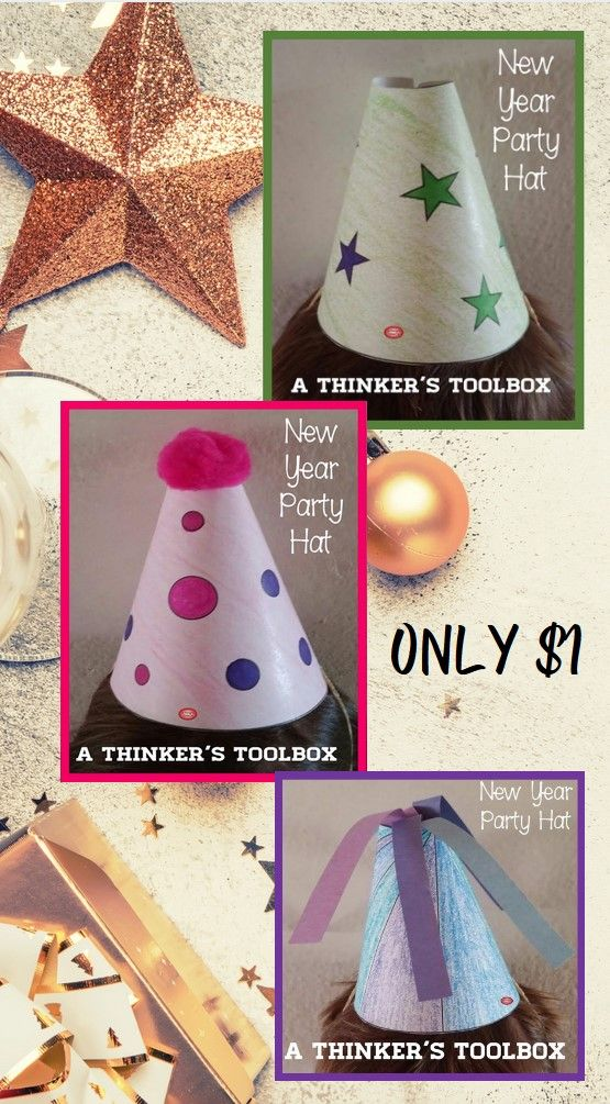New Year Party Hats In 2020 Party Hat Craft Party Hat Template New Years Party