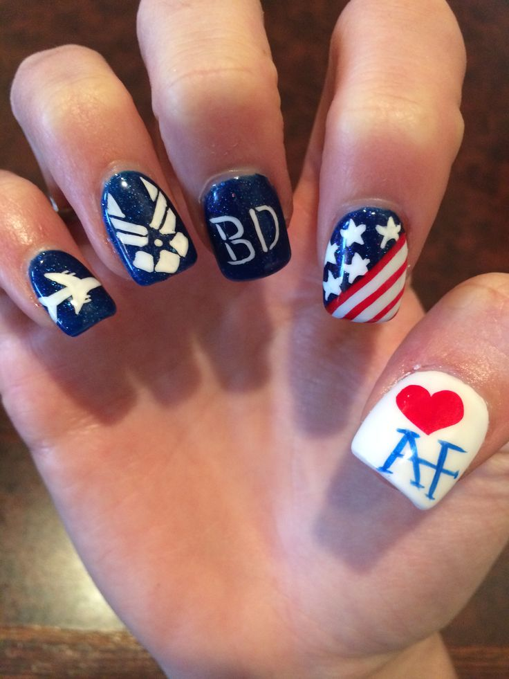 Amazing In Love With My #airforce Nails For My Babes Graduation From #bmt In 6
