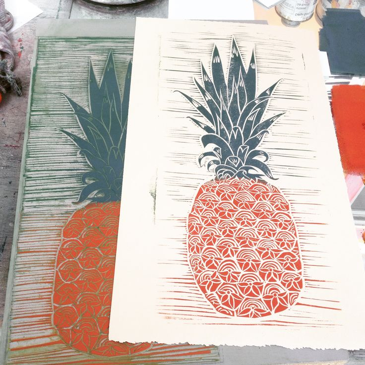 Printmaking. Pineapple first pull. Linoleum block print