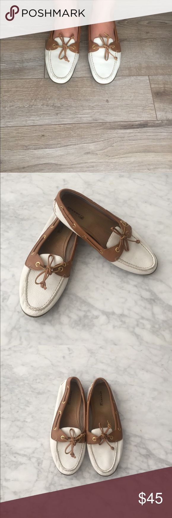 White Sperry Boat Shoes Only worn a couple of times, excellent condition. Have been sitting in my closet for a couple of years so I have decided to sell them! Sperry Shoes Flats & Loafers