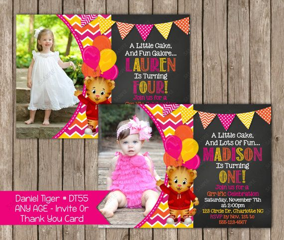 Any Age - Daniel Tiger Girl Birthday Invitation OR Thank you card Digital File