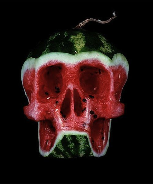 A watermelon skull.. I should try to do this with a pumpkin for halloween