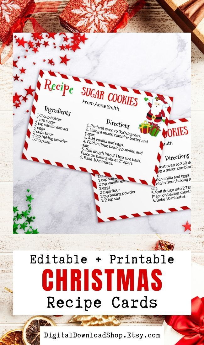 Santa Cookie Recipe Card Printable Editable Christmas Cookie Etsy Christmas Recipe Cards Printable Christmas Recipe Cards Recipe Cards Template