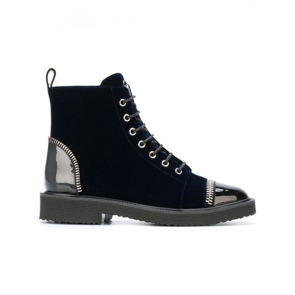 Giuseppe Zanotti Design Leather Laced Ankle Boots ($1,200) ❤ liked on Polyvore featuring shoes, boots, ankle booties, navy, leather bootie, ankle boots, lace-up booties, lace up boots and short leather boots