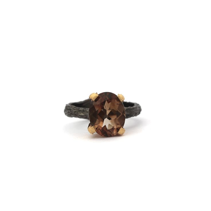 Ferda Ring - Kate McCoy | Ferda in Turkish means joy, pleasure, cheerful. Hand made from sterling silver and finished with black rhodium and 14 kt yellow gold vermeil.