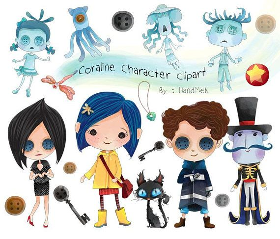 Cute Coraline Character Clipart Instant Download Png File Etsy Coraline Characters Coraline Clip Art