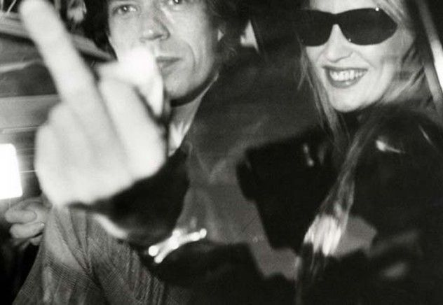 Mick Jagger and Jerry Hall depart Mizuno Gallery en route to L'Ermitage Hotel, January 16, 1983, Beverly Hills, California © Ron Galella