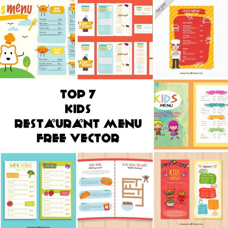Below is my list of top 7 Free Vector of Kids Restaurant Menu.