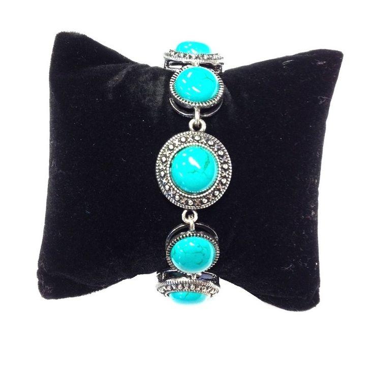 Zilverkleurige armband met ronde turquoise stenen | Armbanden | DamesTic