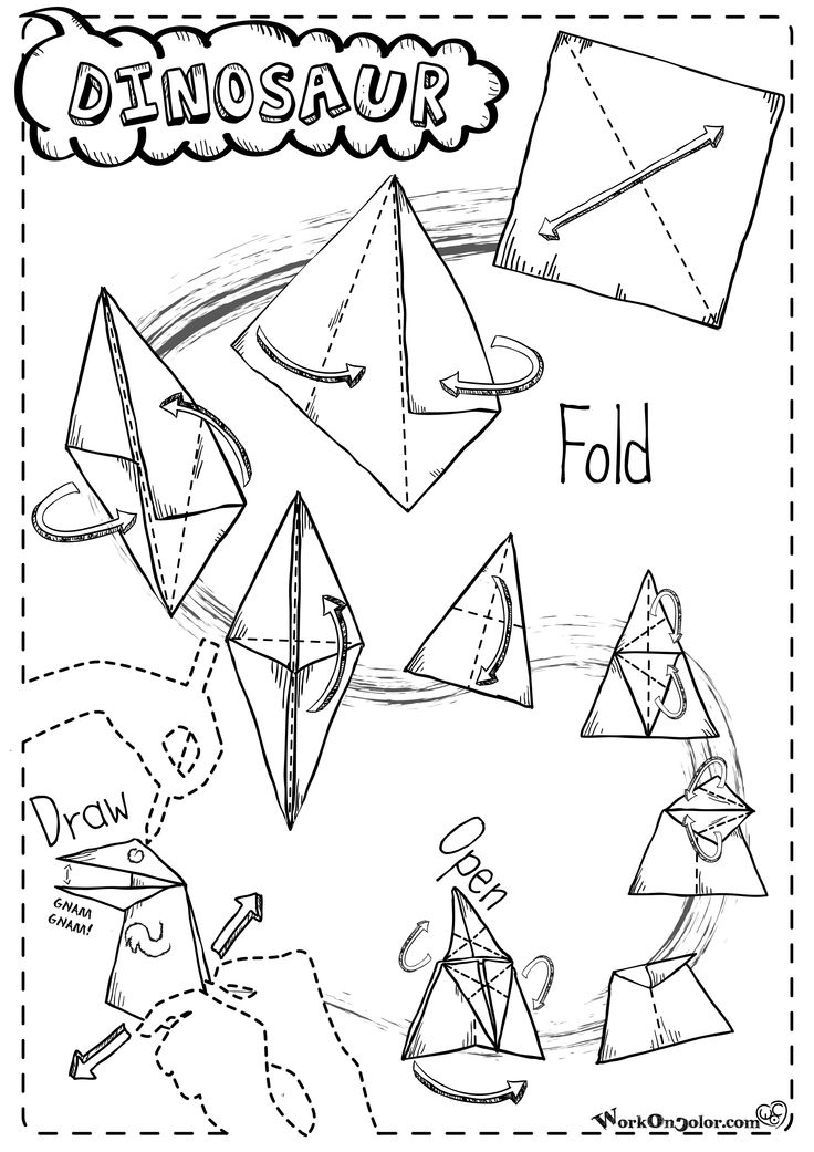 Instructions for a paper Dinosaur that open the mounth! Fold and Play - Istruzioni per un dinosauro di carta che apre la bocca! Gnam Gnam!