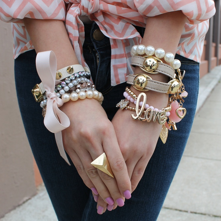 Love, hearts, bows, beads, cuffs ... can't get any better than that! #armcandy