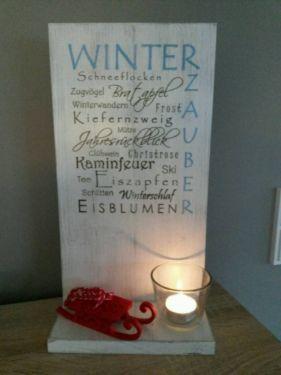 Holzschild Deko Schild Winter  BHT: ca. 19*35*10cm  Aufpreis für Dekoration…