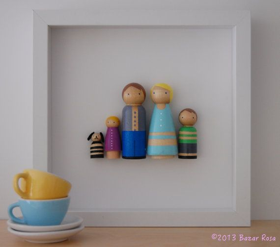 Customized Peg Doll Family Wall Art by Bazar Rosa, $50.00