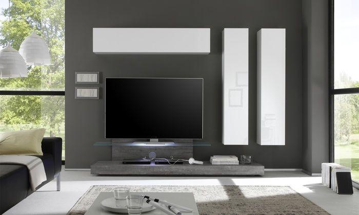 Parete Pensile Per Soggiorno Cube 399 Groupon Parete Attrezzata Mobili Porta Tv Pareti Soggiorno