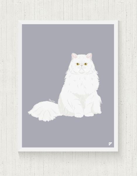 cats at DaWanda Cat Print 30x40 cm - Persian  from Follygraph by DaWanda.com