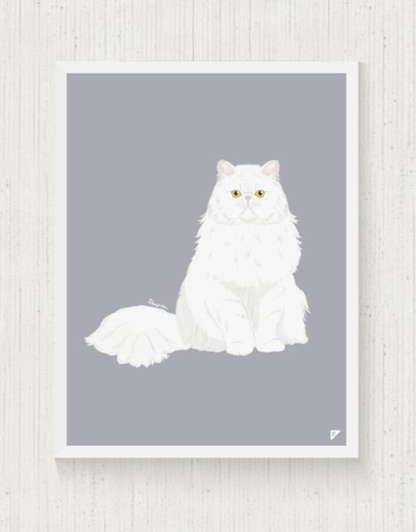 cats at DaWanda Cat Print 30x40 cm - Persian  from Follygraph by DaWanda.com
